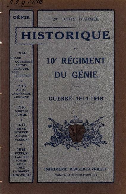 Historique du 10e Génie : couverture
