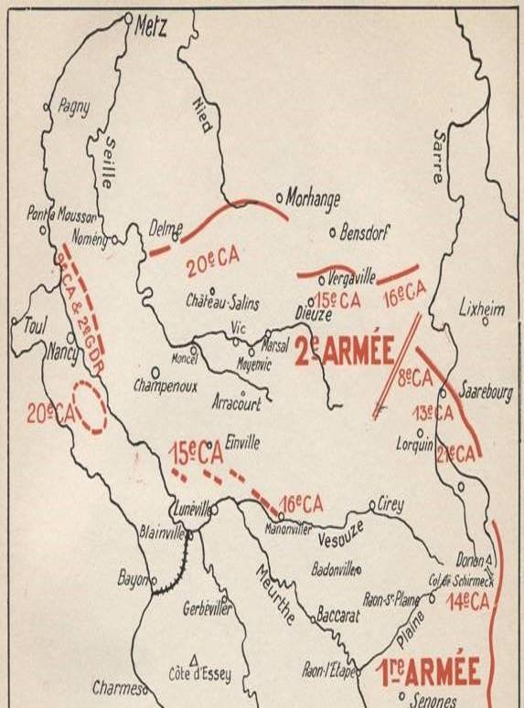 Toul en haut à gauche ; Baccarat en bas à droite (Site rosalielebel75.franceserv.com, page bataille des frontières, détail)