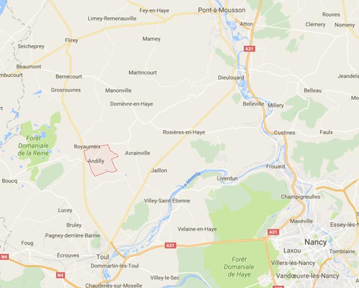 Toul (en bas à gauche), Andilly, Manonville, Limey (en haut à gauche) ; Pont-à-Mousson (en haut à droite) (Source : Google)