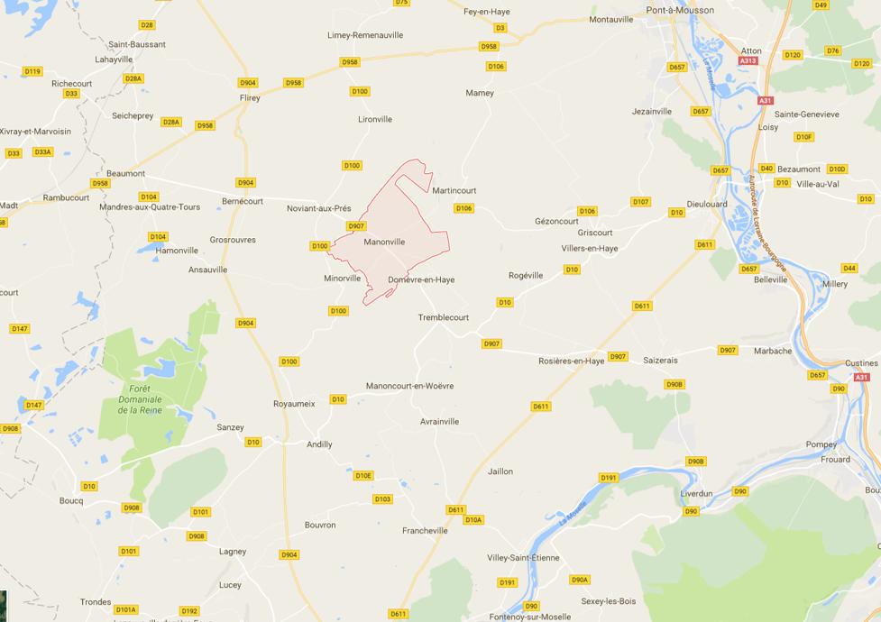 Pont-à-Mousson (en haut à droite), Manonville, Noviant-aux-Prés, Limey (Source : Google)