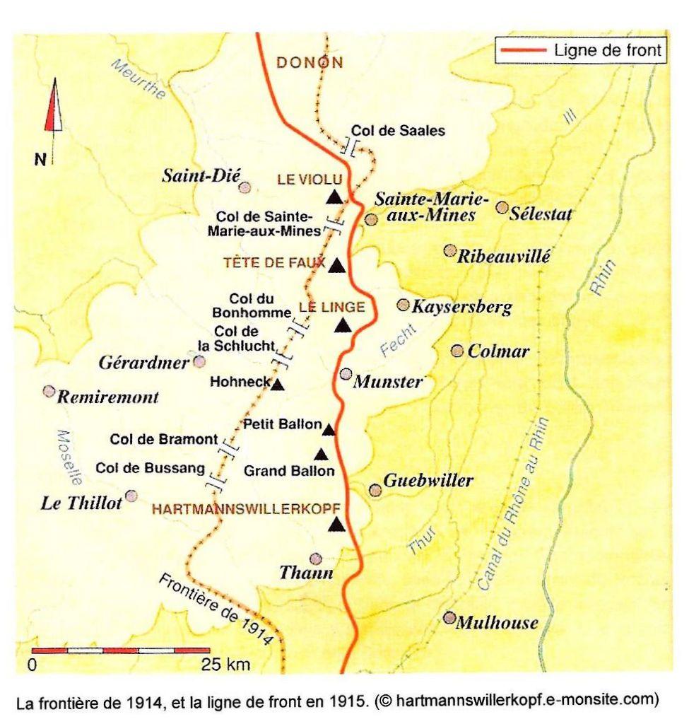 La frontière de 1914 et la ligne de front en 1915, de Saint-Dié à Thann (site ltd-rando68.over-blog.com)