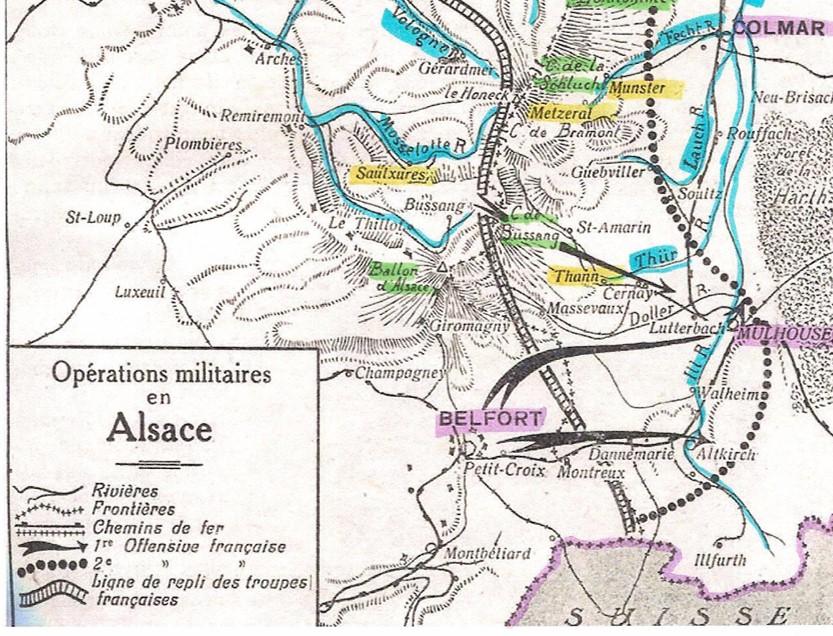Belfort, Thann (Site rosalielebel75.franceserv.com, page bataille des frontières, détail)