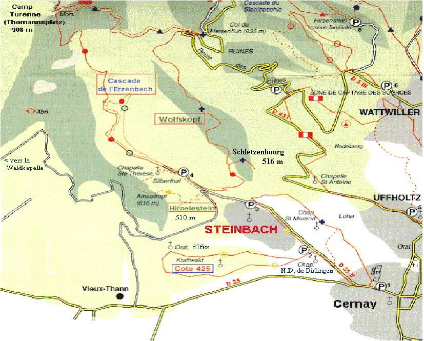 La cote 425 au sud-est de Steinbach (site 14-18hebdo.fr, page Paul Boucher)