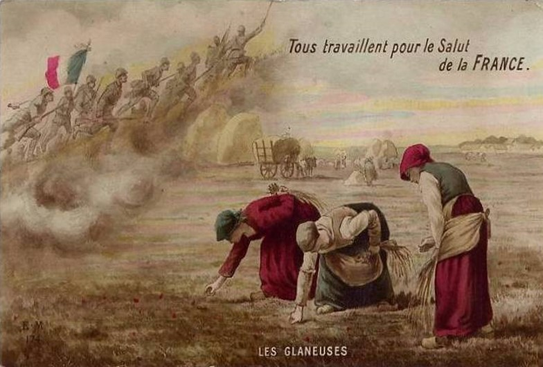 « Tous travaillent pour le Salut de la France » Les glaneuses, d'après Les Glaneuses de Jean-François Millet (site archivespasdecalais.fr)