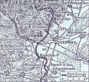 Sentheim (en bas à gauche) ; Thann et Cernay ; Bitschwiller (au nord de Thann), Rammersmatt (au sud-ouest de Thann) (site alsace1418.fr)