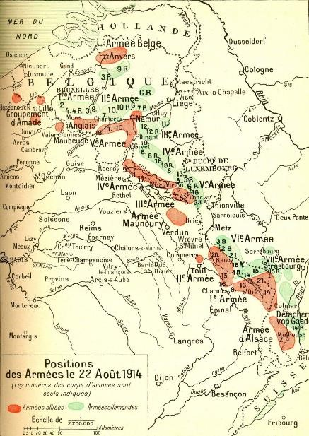Positions des armées le 22 août 1914 (site 1914ancien.free.fr, page « Les cartes de la concentration des armées »)