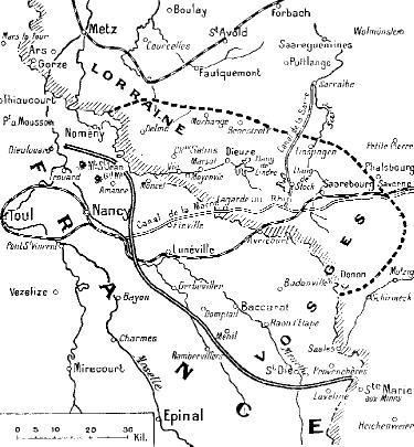Fronts atteints en Lorraine (site 1914ancien.free.fr, page « Les cartes de la concentration des armées »)