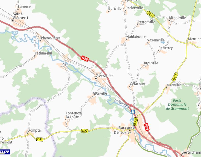 Fontenoy-la-Joûte, à l'ouest de Baccarat, au N.O. de Raon-l'Etape ; Flin et Azerailles, au N.O. de Baccarat, au S.E. de Flin, sur la Meurthe ; Hablainville, Pettonville, Vaxainville, Brouville, Reherrey (site viamichelin.fr)