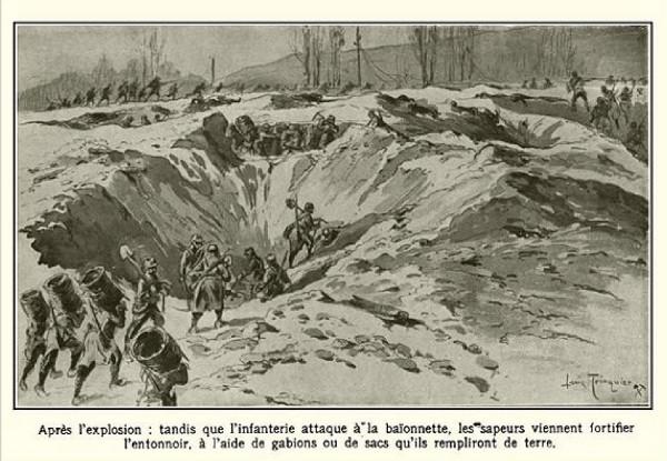Après l'explosion, les sapeurs fortifient l'entonnoir à l'aide de gabions (site enenvor.fr les enterrés vivants du labyrinthe des Bretons dans la guerre des mines)